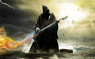 Paint by Numbers- Grim Reaper Guitar 16x20 Inch Linen Canvas Paintworks - Digital Oil Painting Canvas Kits for Adults Children Kids Decorations Gifts, with Frame