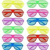 Ouinne 12 Accoppiamenti Moda Occhiali di Ombreggiatura, 6 Colori Occhiali a Righe per Partito Costume Foto Puntelli