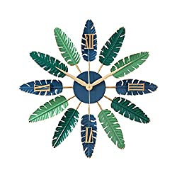FENDOUBA Metal Leaf Wall Decoration Wall Clock,Creative Nordic Wall Clock Silent with Large Roman Numerals for Kitchen/Bedroom/Living Room/Office (Color : Blue, Size : 62cm)
