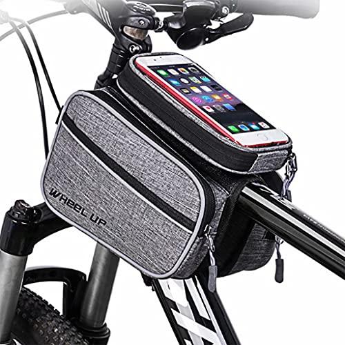 Bolsa Bicicleta, al aire libre a prueba de agua portátil de la montaña/camino de la bicicleta frente viga superior del tubo de pantalla táctil del teléfono móvil Riding Saddle Bag, Negro,20×16×7.5cm