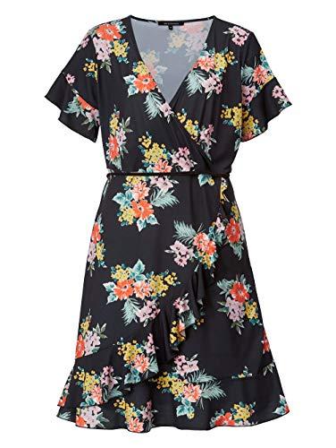Sara Lindholm Kleid mit Blumendessin schwarz-pink-grün