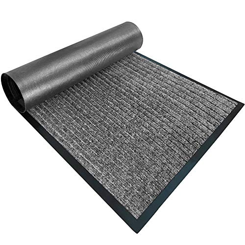 Gorilla Grip Original Low Profile Rubber Door Mat, 72x48, Heavy Duty, Durable Doormat, Indoor Outdoor, Waterproof, Easy Clean Shoe Scraper, Home Rug Welcome Mats for Entryway Patio Porch, Light Gray