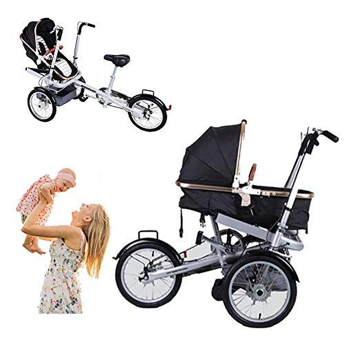 Baby Dreirad 2 in 1 Kombi-Kinderwagen Faltbare Mutter-Kind-Auto Abnehmbar 2 Modi Free Convertible Fahrmodus + Kinderwagen-Modus Can Sit-and-Ride Adult Unisex