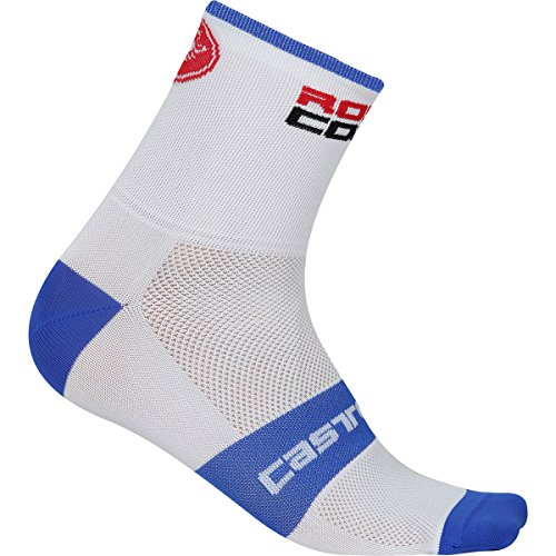 Castelli Rosso Corsa 13 - Calcetines para hombre (talla S/M), color blanco y azul