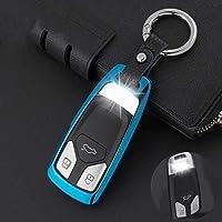 ZHANGXX新しい車のキーカバーシェル亜鉛合金+レザーチェーンメタルスマートキーケース。アウディラインA3 A5 Q3 Q5 A6 C5 C6 A4 B6 B7 B8 TT 80 S6耐久性