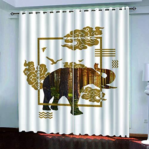 LLPZ Cortinas Opacas E Insonorizadas, Cortinas Blancas con Diseño De Elefante, Cortinas Modernas para Dormitorios Y Salas De Estar 2×W75cm×L166cm