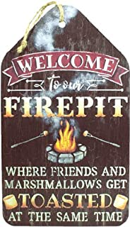 Welcome to Our Firepit Wood Sign by StudioR12 | Housewarming Present | Birthday Gift | DIY Campfire Decor | Backyard BBQ