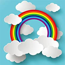 AOFOTO 6x6ft Cartoon Rainbow Clouds on Blue Paper Backdrop for Photography Girl Boy Baby Shower Photo Booth Kids Children Birthday Party Decoration Wallpaper Photo Studio Props