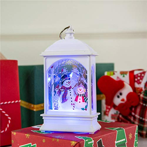 Decorative Christmas Lanterns with Christmas Themed Prints for Home, LED Christmas Candle Holder, Candle Lantern Christmas Centerpieces for Tables, Christmas Home Decors, Party, Garden - Snowman