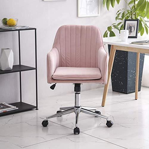 YANGSANJIN Velvet bureaustoel Ergonomisch 360° draaibare computerstoel met gevoerde kussenzitting in hoogte verstelbaar (grijs)