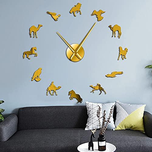 Reloj de pared sin marco silencioso sin marco (dorado, 37 pulgadas)