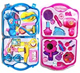 amisha gift gallery® pretend play combo toy set of doctor set and beauty set for kids (doctor set-beauty set)- Multi color