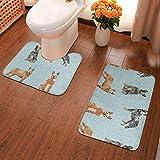 Australian Cattle Dog Pet Bath Mat 2 Piece Set Bathroom Carpet Set Soft Bath Mat + Contour Pads, Absorbent Carpet Bath and Mat Anti-Slip Pads Set