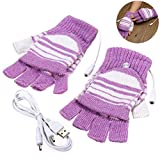 Fansport USB Rechargeable Winter Fingerless Heated Gloves for Skiing, Violet