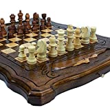 Handmade 3 in 1 Walnut Wood Chess Set 11.8 inch - Backgammon, Checkers - High Detail Unique Board Game from Armenia Europe (11.8 inch)