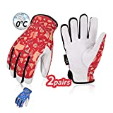 Vgo Winter High Dexterity Light Duty Water Repellent Work Gloves GA9603FW, 2 Paar- Blau & Rot, Gr.-S