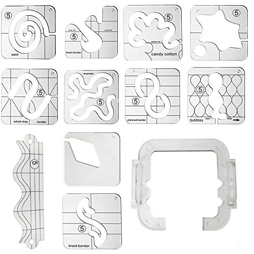 YICBOR Free Motion Quilting Template Set with Quilting Frame for Domestic Sewing Machine #FMQ Grip 5