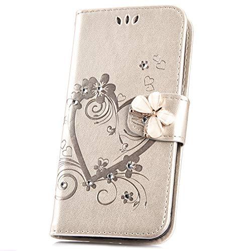 JAWSEU Compatible avec Samsung Galaxy S7 Coque Portefeuille PU Étui Cuir à Rabat Magnétique Coeur d'amour Bling Glitter Brillant Papillon Fleur Diamant Strass Leather Flip Wallet Case
