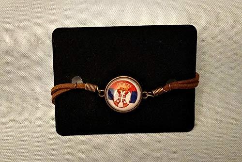 Serbia Serbian Flag Emblem Leather bracelet men or women