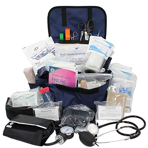 Luminary Trauma Bag Stocked Medium Modular Reflective EMS-EMT Medic Bug Out Bag First Aid Kit for Home Professionals First Responders Preppers Outdoors (Navy Blue)