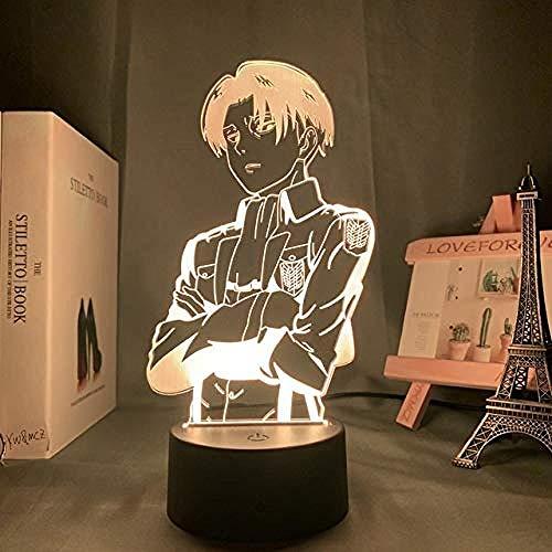 3D LED Luz de noche Anime Attacking Titan Captain Levi Ackerman Personaje,7 colores Cambio 3D Ilusión óptica Lámpara,3D illusion lamp Adecuado para regalos navideños para niños y niñas