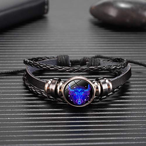 WODESHENGRI Armbänder,Waage Skorpion Sternbild Leuchtende Armband Leder Armband Sternzeichen Schmuck Armband Für...