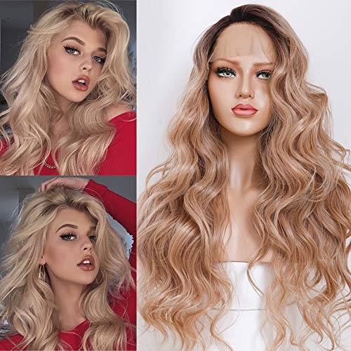 HELENE Ombre Blonde Lace Front Wigs Dark Roots Ombre Golden Hair Natural Loose Wave Wig Glueless Long Wavy Synthetic Wig for Women Elastic Straps Comfortable Adjustable 2 Tone Heat Resistant 24 inches