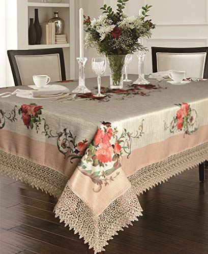 Violet Linen Decorative Printed Ascott Tablecloth with Lace Trimming, 70' X 120', Ivory