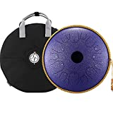 BeatRise Tongue Drum 14 Inch 14 Notes Steel Tongue Drum Professional Steel Drum Handpan Percussion Instrument with Travel Bag Rope and Mallets for Mind Healing Yoga (Speckled Purple)