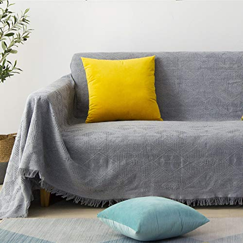 Modern Solid Color Sofa Cover Cloth With Lace Sofa Blanket Cloth Four Seasons Universal Dirt-Resistant Sofa Towel Non-Slip Anti-Pet Scratch Sofa Cushion Decorative Sofa Cover