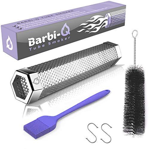 Barbi-Q Fumador de Tubo 31 cm Acero Inoxidable | Ahumador Tubo para Barbacoa para Fumar en Frío o Caliente | Caja de Ahumado para Carne o Pescado Todo Tipo de Parrillas