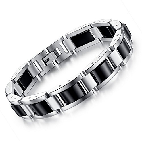Feraco Mens Magnetic Bracelets Pain Relief for Arthritis Classic Balck Stainless Steel Magnets Therapy Bracelet Health Jewelry, 8.66 inch