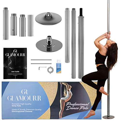 GLAMOURR Stripper Pole for Home Kit | 9 Feet + Extra 20 Inches Extension for Static or Spinning Pole Dancing | Dancing Pole and Fitness with Bonus Liquid Chalk | Perfect Lap Dance Pole for Bedroom
