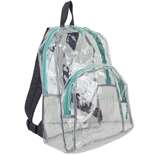Eastsport Clear Backpack, Fully Transparent with Adjustable Colorful Padded Straps...