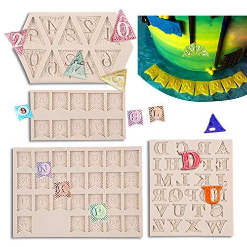 MUYULIN Moldes de silicona para fondant (4 unidades), para banderines de tartas, decoración del alfabeto, chocolate, cupcakes, azúcar, dulces, galletas, caramelos, tarjetas, arcilla (ZH12)