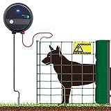 VOSS.farming Hundezaun 50m Elektro-Zaun für große Hunde + 230V Weidezaungerät fenci M05 Weidezaun Komplettset, Hunde-Netz Auslauf Gehege Elektro-Netz Grün