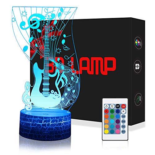 QiLiTd Lampada Chitarra 3D con Controllo Remoto, Lampade Notturna LED 5 Luminosità + Muliticolore Regolabile RGB Luce Notturna da Comodino con Controllo Tattile per Regalo di Compleanno e Natale