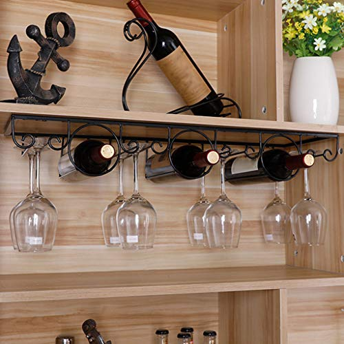 CHINESS Estante para Colgar Copas De Vino, Estante para Vinos, Estante para Botellas Artesanales De Metal, Puede Colgar 8 Tazas, para Cocina De Bar, 30 X 22 X 10 Cm, Negro