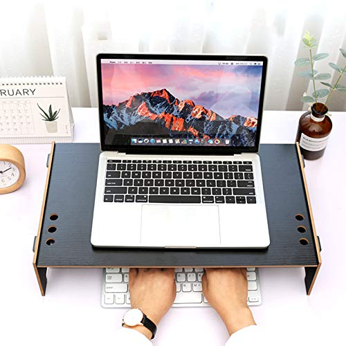 Desktop Monitor Stand Riser,with Cable Management Computer Monitor Riser,Wood Vented Desk Shelf Organizer Storage,for Office Home-Black. 48x28x10cm(19x11x4inch)