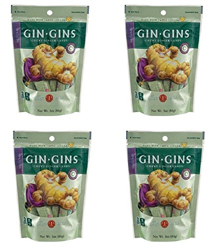 The Ginger People Gin Gins Original Chewy Ginger Candy 3 Ounce (Pack of 4)