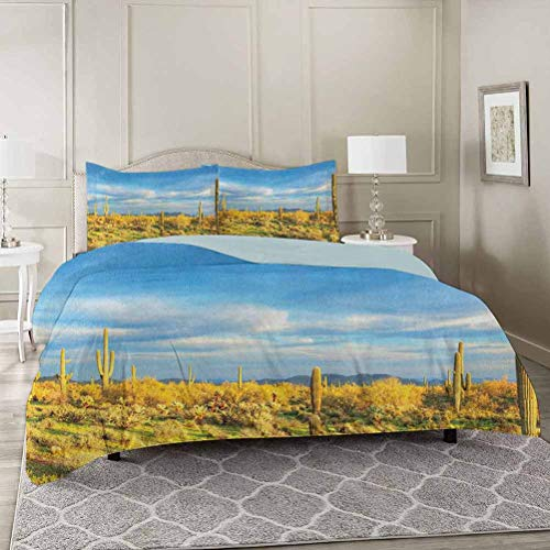 YUAZHOQI Saguaro 3 Pieces Duvet Cover Set Twin, Floral Cactus Catching The Last Sunrays Day Long Life Western Plant Print Premium Washed Microfiber Comforter Cover and 2 Pillow Shams