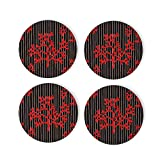 Red Marine Reef Design Coasters 4 Pcs Round Cups Mugs Place Mats Modern Ceramic Coasters Decor for Drinks Bar Wooden CoffeeTable Cork Base Decorative Coasters for Housewarming, 4'