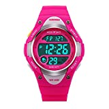 SKMEI Girls Pink Digital Watch 50m Water Resistant with Stopwatch Alarm Perfect