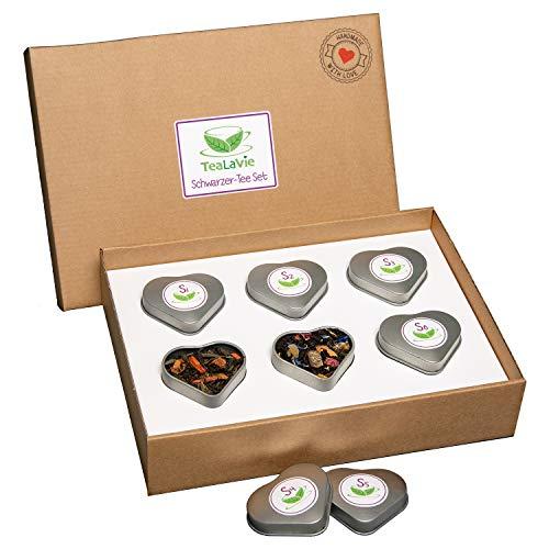 TEALAVIE - 6er Tee-Geschenke-Set - Schwarztee lose | edle Herz-Teedose für Teeliebhaber | ideal für Dankeschön Geschenke | 50g loser Schwarzer Tee Mischung Mix