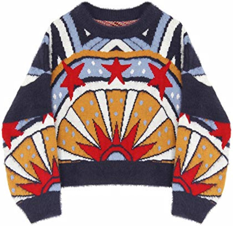 JIAKENVDE Winter Hair Five-Pointed Star Jacquard Short Section Thin Lantern Sleeve Sweater Women'S Jacket Top Wear