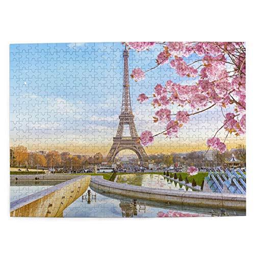 Rompecabezas Puzzle 500 Piezas Torre Eiffel Primavera Mañana París Francia Inteligencia Jigsaw Puzzles para Adultos Niños Juegos