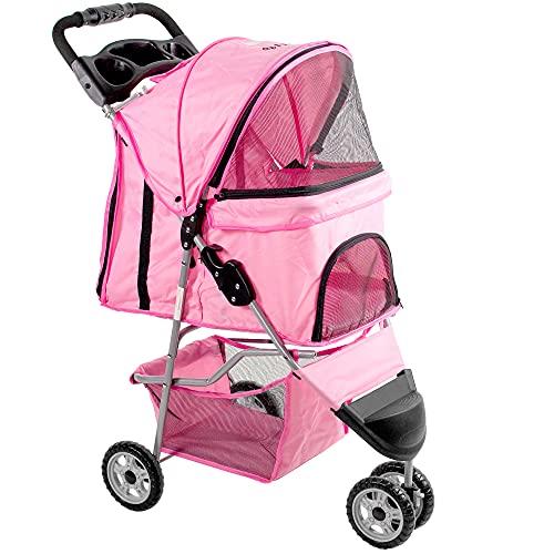 VIVO Pink 3 Wheel Pet Stroller for Cat, Dog and...