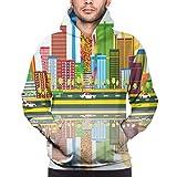 Photo de YATTYUG Men's Hoodies Sweatershirt,Cartoonish Skyline of Nevada City in The Afternoon Modern Buildings Architecture,S
