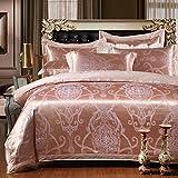 yaonuli Bed Baumwolle Satin Jacquard vierteilige Baumwolle Bettlakenrosa lila 2,2 Bett (7 Fuß) vierteilig