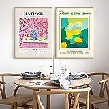 ZHJJD Poster de Lienzo de Henri Matisse Pinturas de Frutas de limón Rosa Arte de la Pared de la Cocina Cuadros Abstractos Decorativos Mural de Comedor Moderno 40x50cmx2 Sin Marco